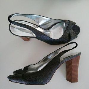 Nine West Metallic Slingback Peep Toe Stacked Heel